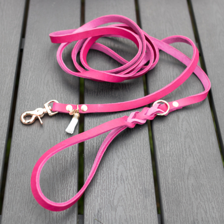 Leather dog leash pink, braided leather lead