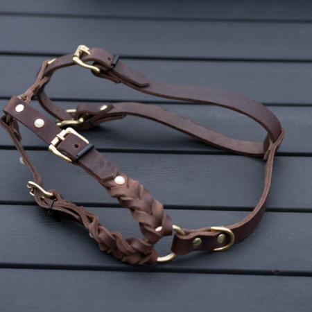 Leather dog harness, braided soft leather harness